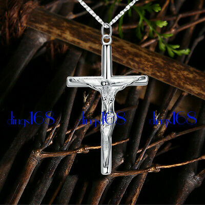 Set Sterling Silver Crucifix - 925 Sterling Silver Jesus Christ Crucifix Cross Pendant +Necklace Chain Set Z083