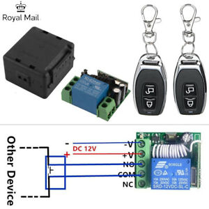 12V Wireless Remote Control Relay Switch 1CH Receiver Module +2 RF Transmitter