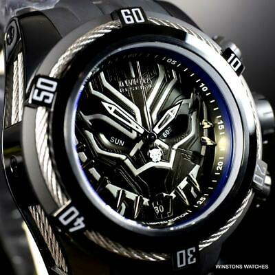 Invicta Marvel Reserve Bolt Zeus Black Panther Swiss Mvt Chrono Watch 52mm New