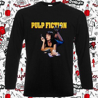 Pulp Fiction Movie Film Mia Poster Men's Long Sleeve Black T-Shirt Size S-3XL - Mia Pulp Fiction