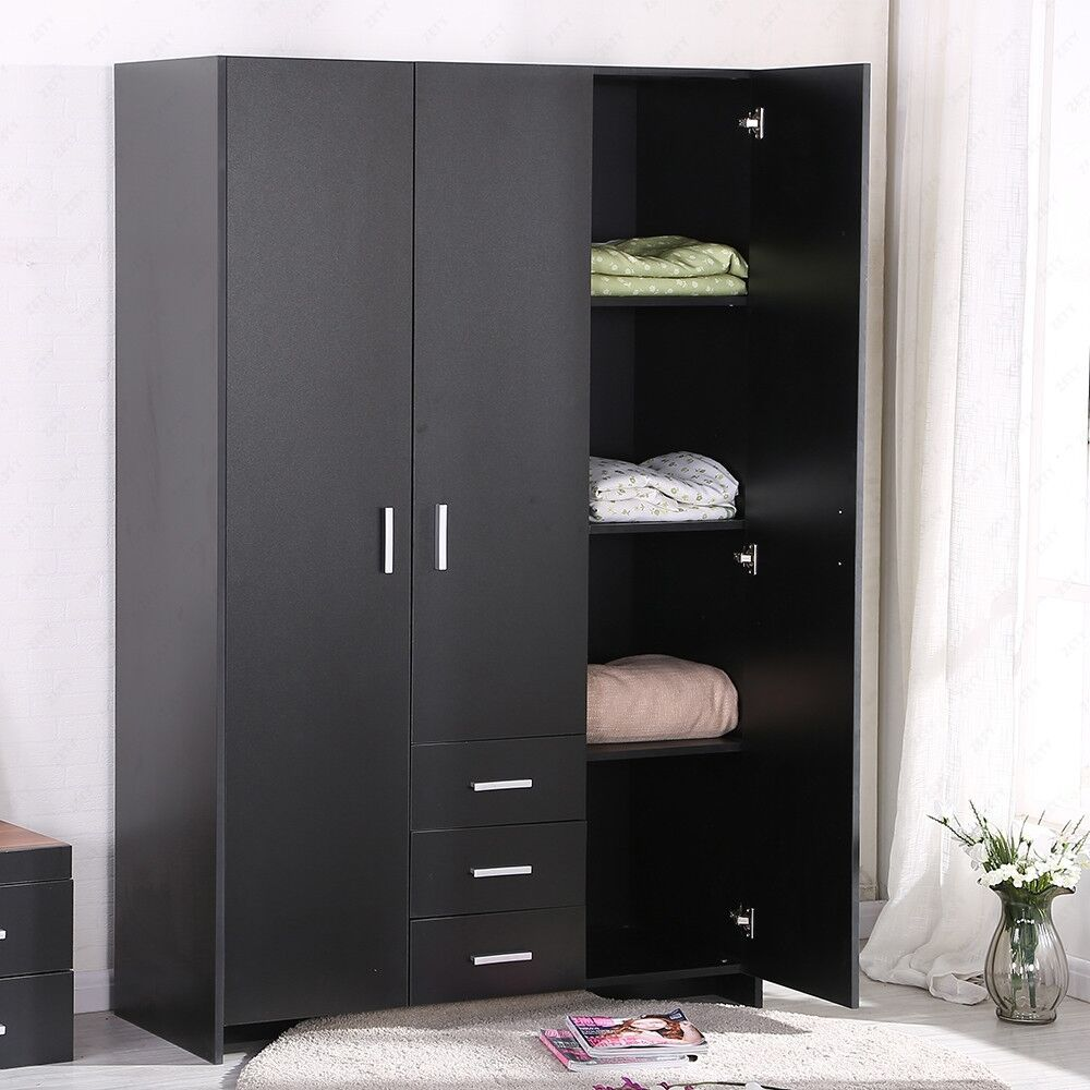 New black plain wardrobe 3 doors hanging rail top shelf for 1 door wardrobe with shelves