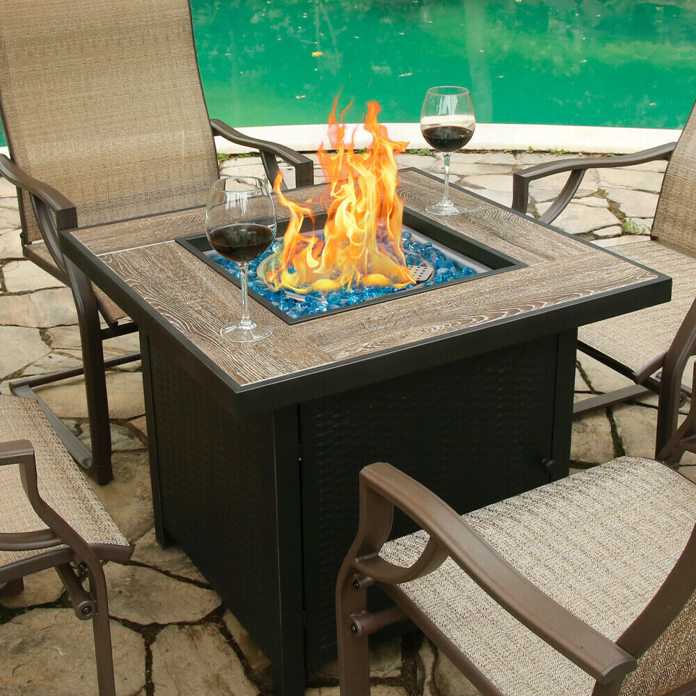 """30"""" Bali OutdoorSquare LP Gas Fire Table Propane Gas Fireplace with Blue Glass"""
