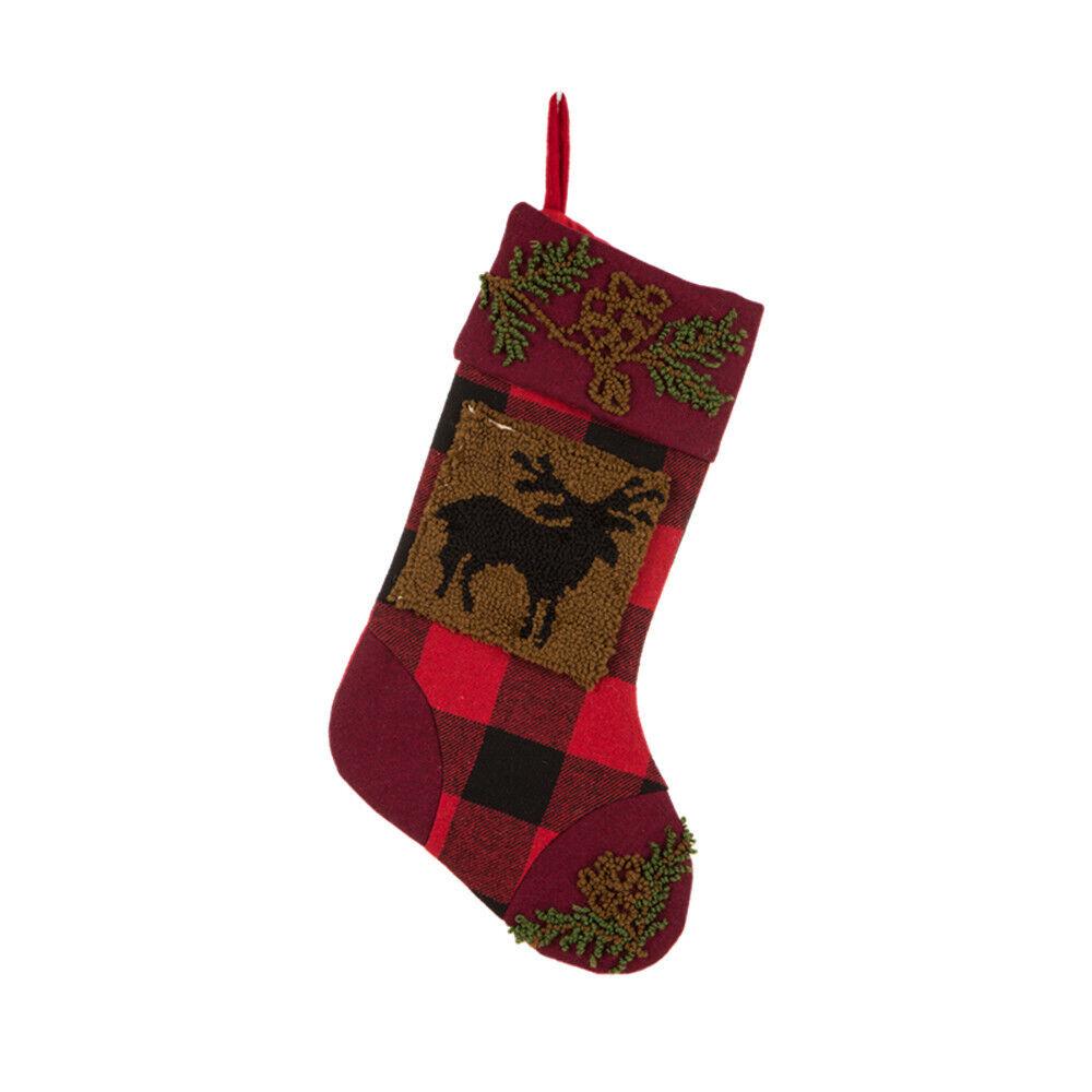 Glitzhome 19 Handmade Plaid Hooked Rug Reindeer Christmas Stocking ...