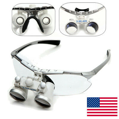 Silver Dental Surgical Medical Binocular Loupes 3.5x 420mm Optical Glass Loupe