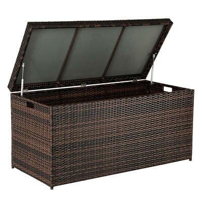 Outdoor Rattan Storage Deck Box Large Chest Bin Patio Garden