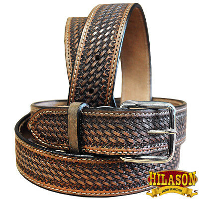 "30-60"" HILASON HANDMADE HEAVY DUTY WESTERN WORK LEATHER MENS GUN HOLSTER BELT"