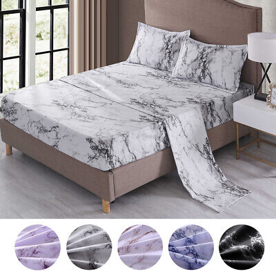 4 Piece Marble 1800 Count Bed Sheet Set Deep Pocket Comforter Cover Soft Bedding