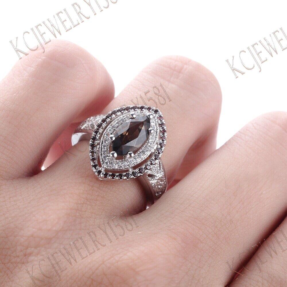 Marquise Cut Smokey Quartz Unique Ring Sterling Silver Engagement ...