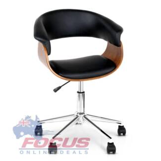Wooden Pu Leather Office Chair Black