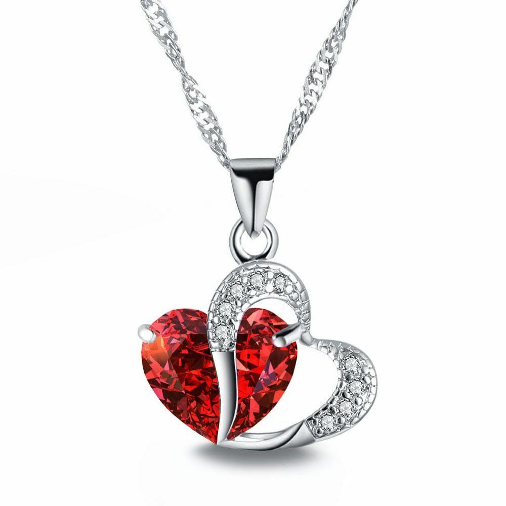 Jewellery - Heart Crystal Pendant 925 Sterling Silver Chain Necklace Womens Ladies Jewellery