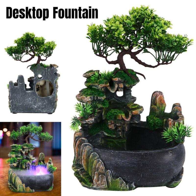Mini Rockery Fountain Waterfall Feng Shui Desktop Water Sound Indoor Desk Decor