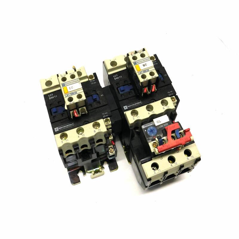 (Lot of 2) Telemecanique LC1D4011 Magnetic Contactors w/ (1) LR2D3355 Relay