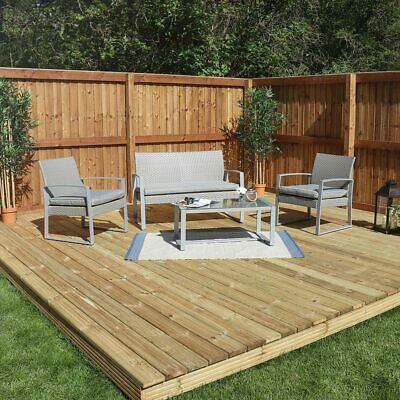 Garden Furniture - 4 PIECE GREY GARDEN PATIO RATTAN CHAIR/SOFA OUTDOOR FURNITURE CONSERVATORY Wido