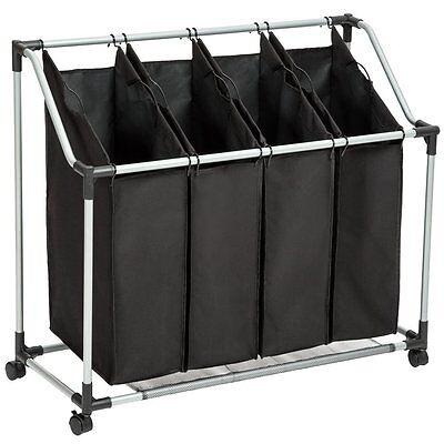 Wäschesortierer Wäschewagen Wäschekorb Wäschebox Wäschesammler 4 Fächern