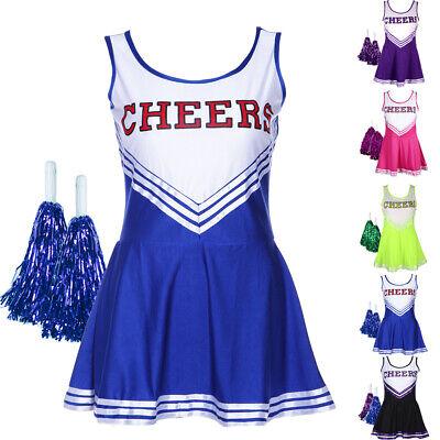 Cheerleader Uniform Bekleidung Cheerleading Kostüm Karneval mit Pom Poms