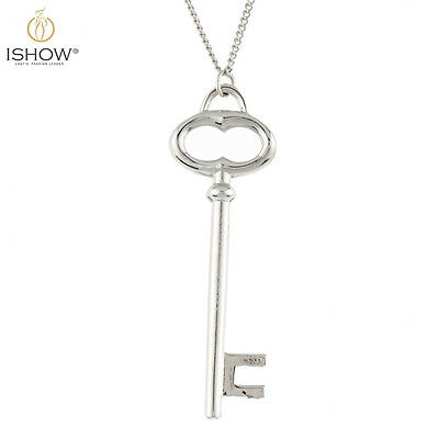 Fashion Charm Silver Plated Key Pendant Long Chain Necklace Jewelry For Women