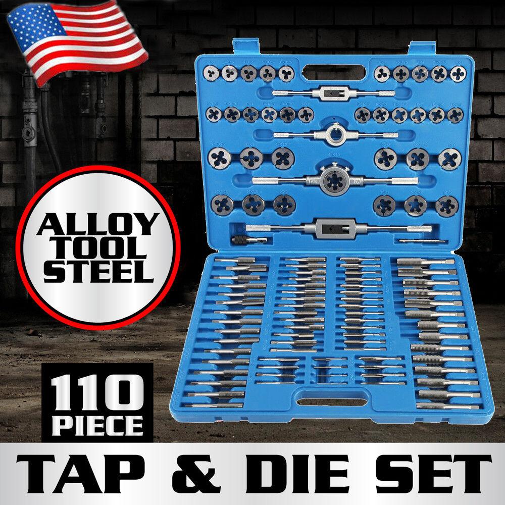 110pc Tap and Die Combination Set Tungsten Steel Titanium SA