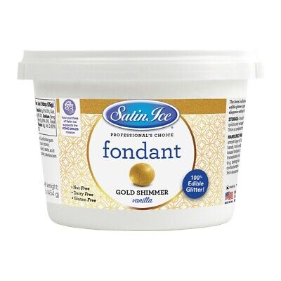 Satin Ice Gold Shimmer Rolled Fondant Icing 1 Pound | Cake (Satin Ice Rolled Fondant)