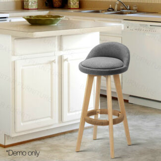Elegant Bentwood PU Leather Bar Stools Grey/Beige