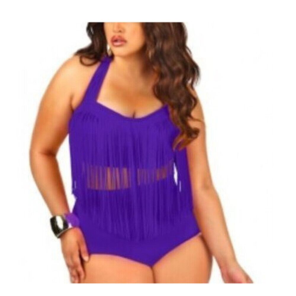 Women Plus Size S3XL Two Piece suit Paded Bra Tassel High Waist Swimwear Bikini