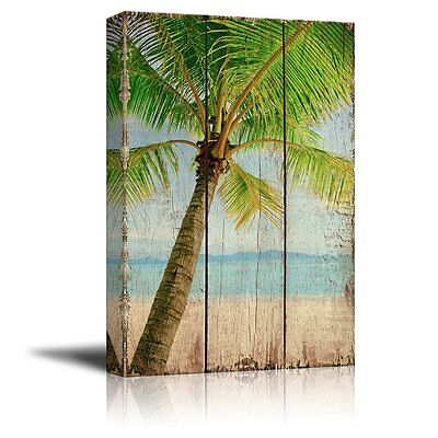 Wall26 - Palm Tree Over Wooden Panels - Canvas Wall Art Print Home Decor - 12x18 ()