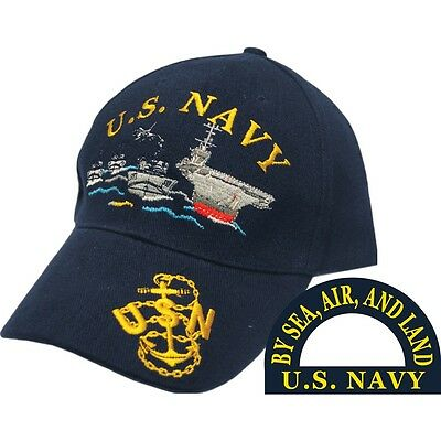 U.S. Navy Ship Fleet By Sea, Air and Land Blue Hat Cap USN