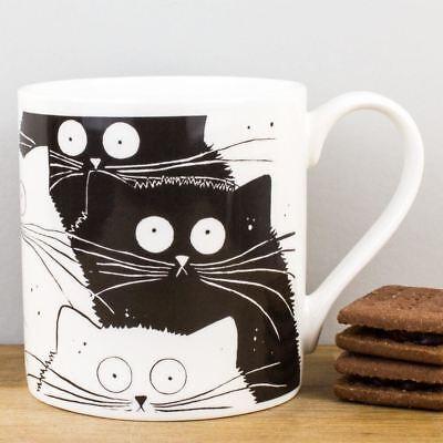 New McLaggan Flash Mog Black & White Cats Bone China Gift Mug 380ml Coffee Cup
