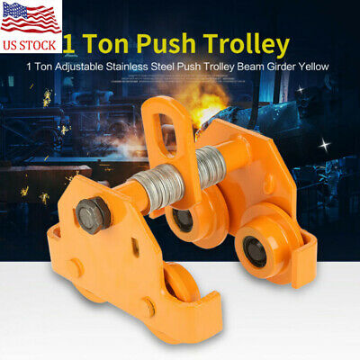 1 Ton Adjustable Stainless Steel Push Trolley Beam Girder Precision Tool Yellow