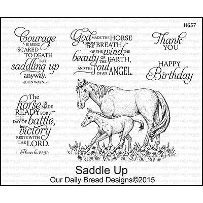 Our Daily Bread Designs Horses Cling Stamp Set Saddle Up H657 Mare And Colt