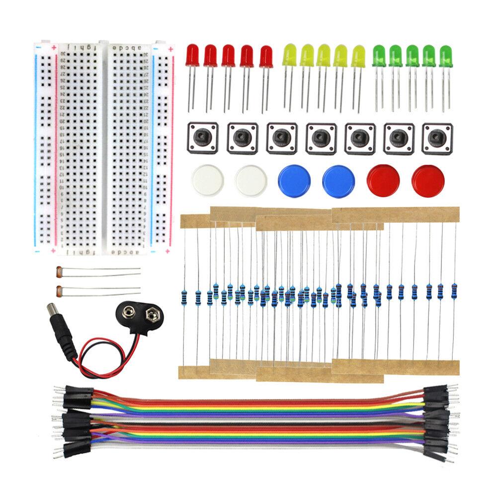 Electronics Starter Kit Breadboard Jumper Wires Resistors LE