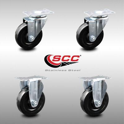Ss Hard Rubber Caster Set Of 4 W4 Wheels - 2 Swivel2 Rigid