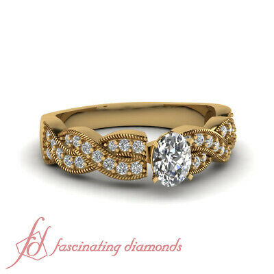 .60 Ct Intertwined Milgrain Diamond Ring With Oval Shaped In Yellow Gold 14K GIA