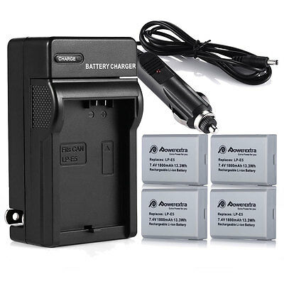 - 1800mAh LP-E5 LPE5 Battery +Charger Kit For Canon Rebel Xs Xsi T1i 500D 1000D X3