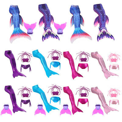 Fairy Mermaid Tail Women Kids Girls Swimming Swimmable Bikini Swimwear Costumes