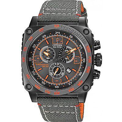 Citizen Eco-Drive Men's AT2288-03H Square Chronograph Orange Accents 43mm Watch