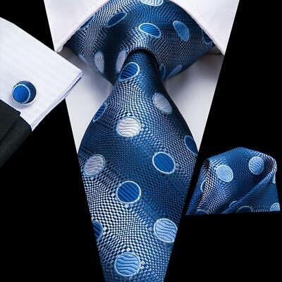 USA Blue Polka Dots  Mens Tie Necktie Silk Jacquard Woven Set Wedding Party Dotted Mens Tie