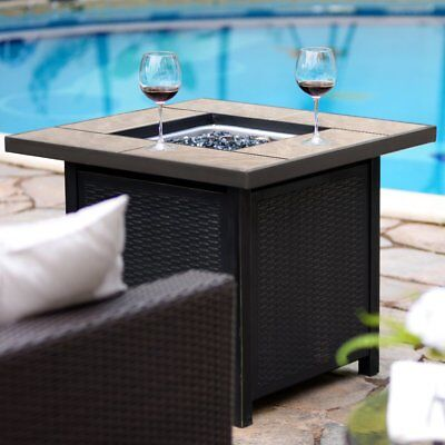 """32""""Bali 50,000 BTU Outdoor Gas Fire Pit Propane Gas Heater Patio Square Table"""