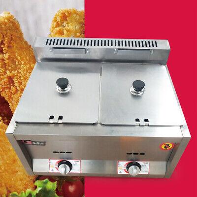 2 Pan Commercial 12l Gas Fryer Double Cylinder Gas Fryers For Restaurants Sale