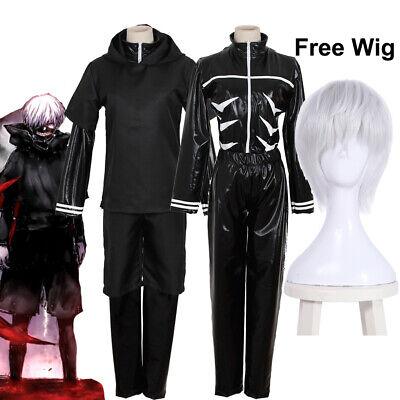 Tokyo Ghoul Kaneki Ken Black Hoodie Sweater Leather Cosplay Kostüm Suit Free Wig