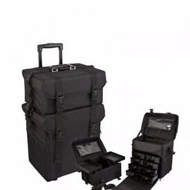 2-IN-1 Nylon Trolley Makeup Artist Case with Sturdy Wheels