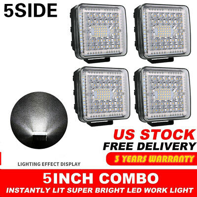 "4PCS 5""Inch 12V 1200W LED Work Light Bar Flood Pods Driving Off-Road Tractor 4WD"