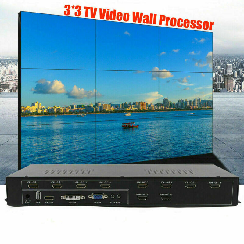TV 9 Channel Video Wall Controller HDMI Outputs Processor HDMI USB Processor USA