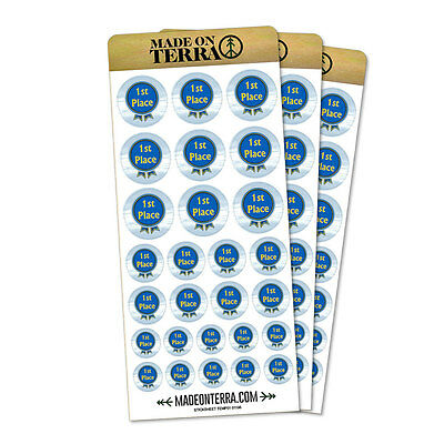 Blue Ribbon First Place Award Removable Matte Sticker Sheets - Blue Ribbon Award