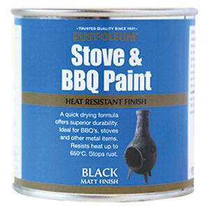 Rust-Oleum Stove and BBQ Heat Resistant Brush Paint Black 650 Degrees 250ml