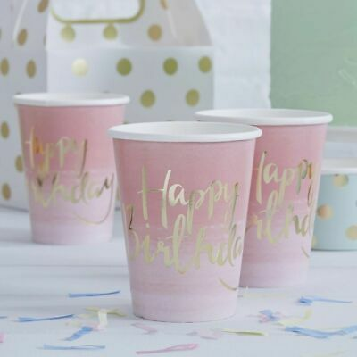 PINK OMBRE Party CUPS Birthday Gold Foiled 8 Pack Tableware Girls Ladies Luxury