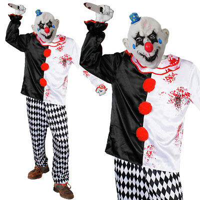 SCARY KILLER CLOWN COSTUME AND MASK EVIL HORROR HALLOWEEN FANCY DRESS OUTFIT