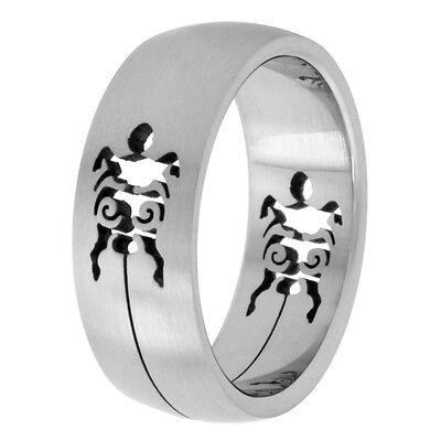 8mm Stainless Steel Turtle Cut-out Design Domed Wedding Band Ring