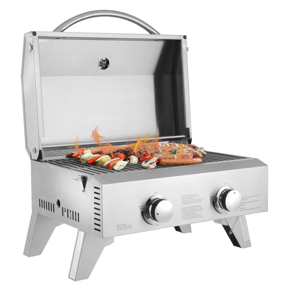2 burnerportable stainless steel bbq table top