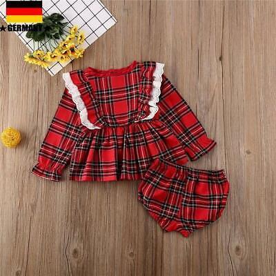 ❤️ Neugeborene Mädchen Rüschen Plaid Top Kleid + Shorts Hosen Weihnachten Outfit