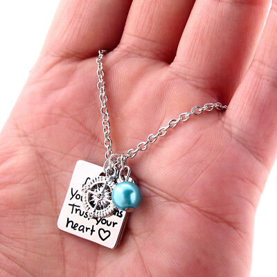 Silver Compass Charm Follow Your Dream  Trust Your Heart Round Pendant Necklace